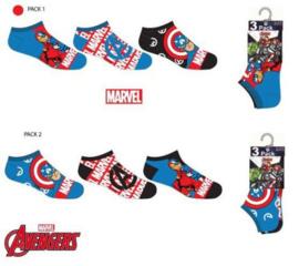 Avengers Sneakersokken - 3 paar - Maat 23 t/m 34