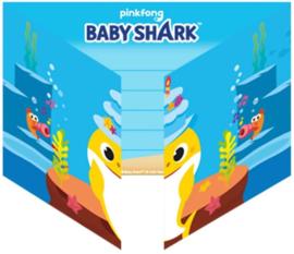 Baby Shark Uitnodigingen Kinderfeestje - 8 stuks
