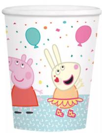 8 Peppa Pig Feestbekertjes Wit - Karton