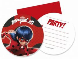 Miraculous Ladybug Uitnodigingen Kinderfeestje - 6 stuks