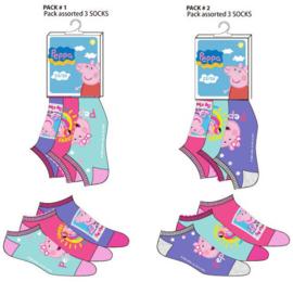 Peppa Pig Sneakersokken - 3 paar - Maat 23 t/m 34