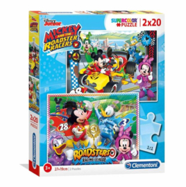 Mickey Mouse 2 in 1 Puzzel - 2 x 20 stukjes - Clementoni