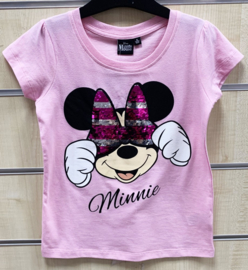 Minnie Mouse Paillettten T-Shirt - Roze