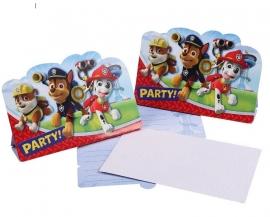 Paw Patrol Uitnodigingen Kinderfeestje - 8 stuks