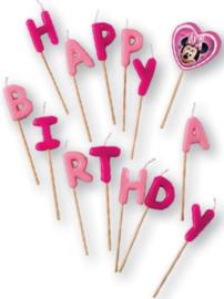 Minnie Mouse Verjaardagskaarsjes 'Happy Birthday'