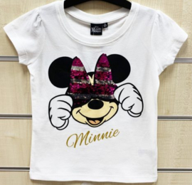 Minnie Mouse Paillettten T-Shirt - Wit