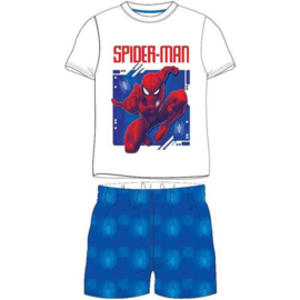 Spiderman Shortama - Wit/Blauw