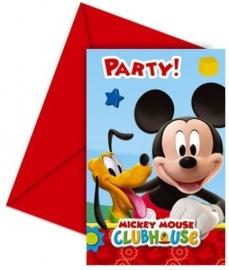 Mickey Mouse Uitnodigingen Kinderfeestje - 6 stuks