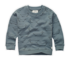 SWEATER BLAUW ALL OVER PRINT | SPROET & SPROUT
