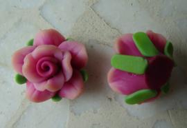 Fimo kraal roosje gemeleerde kleur, donkerroze