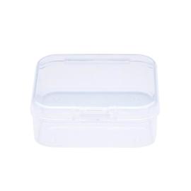 Plastic opbergdoosje transparant 5,4 x 5,3 x 2 cm