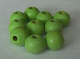 Houten kraal limegroen, 25 stuks