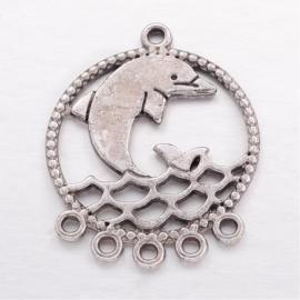Connector in antiek zilverkleur dolfijn
