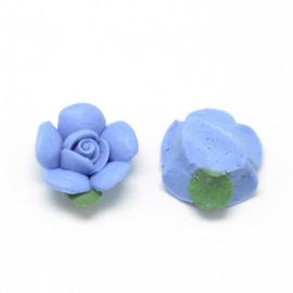 Porceleinen cabochon bloem blauw