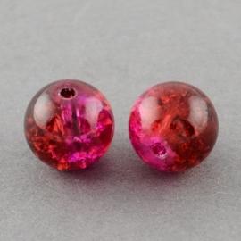 Cracklekraal 6 mm in fuchsia met rood, 50 stuks