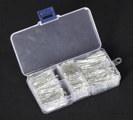 Opbergdoosje met gesorteerde nietstiften, silver plated