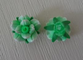 Fimo kraal roosje gemeleerde kleur, groen