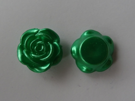 Acryl cabochon roos in groen