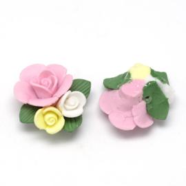Porceleinen rooskraal roze-wit-geel