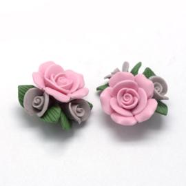 Porceleinen rooskraal roze-bruin
