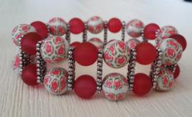 Armband met fimo- en glaskralen rood-wit
