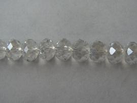 Glazen facetkraal rondel crystal, 8 x 6 mm