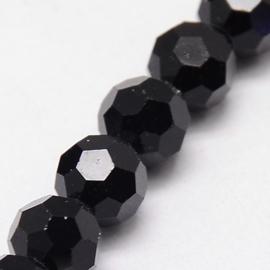 glazen ronde facetkraal 4mm zwart, 25 stuks