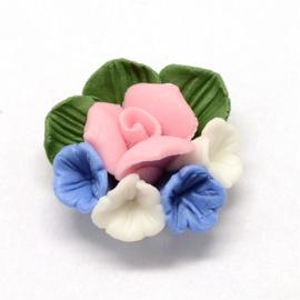 Porceleinen cabochon bloemetjes blauw-roze-wit