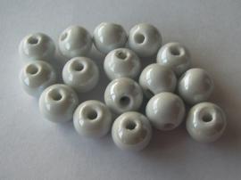 Porseleinen kraal wit met glans