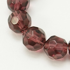 Glaskraal facet rond 10 mm indian red