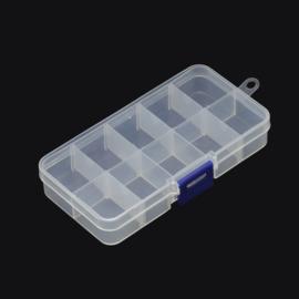 Plastic sorteer / opbergbox transparant 10 vaks