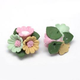 Porceleinen bloemkraal roze-geel-groen