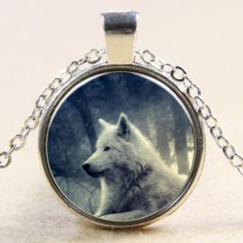 Ketting witte wolf in het bos