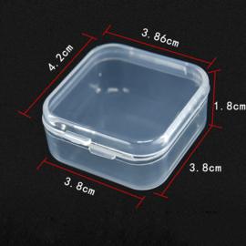 Plastic opbergdoosje transparant 4,2 x 3,8 x 1,8 cm