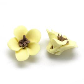 Porceleinen bloemkraal geel-bruin