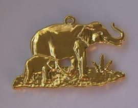 Metalen hanger olifant met jong in geel-goud