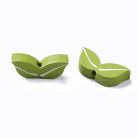 Houten kraal groene blaadjes, 12 stuks