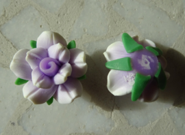 Fimo kraal roosje gemeleerde kleur, lichtpaars