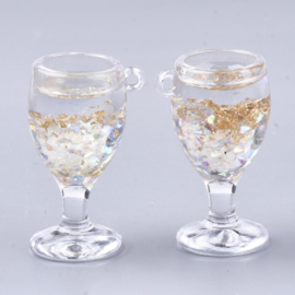 Resin hanger glaasje glitterbubbels