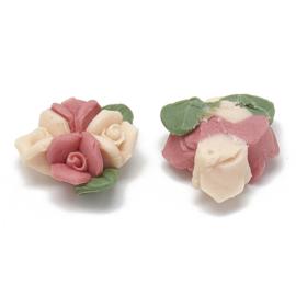 Porceleinen cabochon 3 roosjes perzik, steenrood