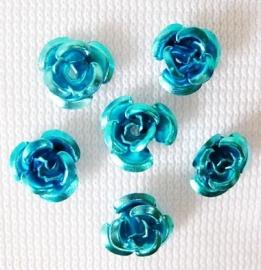 Aluminium roosjes 6mm blauw, 25 stuks