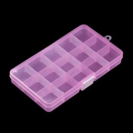 Plastic sorteer / opbergbox transparant roze 15 vakjes