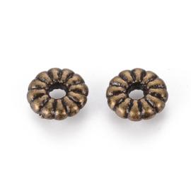 Spacer bead tibetaanse stijl antiek bronskleur, 18 stuks