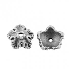 Kralenkapje 5 petals antiek zilver, 12 stuks