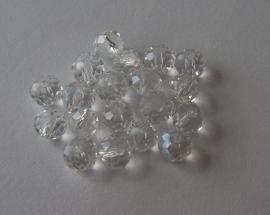 Glazen facetkraal rondel crystal, 6 x 4 mm, 20 stuks