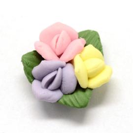 Porceleinen cabochon roosjes geel-roze-lila