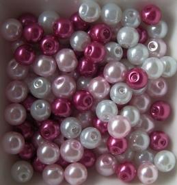 Mix van 6mm glasparels wit/roze, 100 stuks