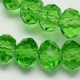 Glazen facetkraal rondel donkergroen, 6 x 4 mm, 20 stuks