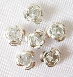 Aluminium roosjes 6mm zilver, 25 stuks