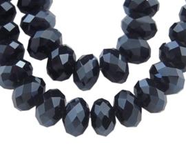 Glazen facetkraal rondel zwart, 6 x 4 mm, 20 stuks